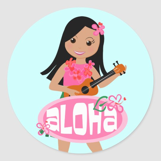 I Hula-Love You Ukulele! Classic Round Sticker