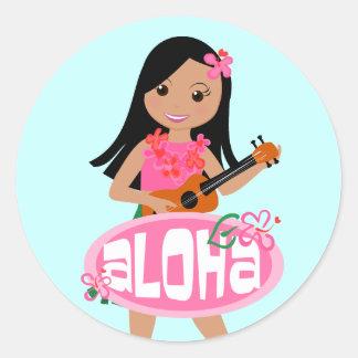 I Hula-Love You Ukulele! Round Sticker