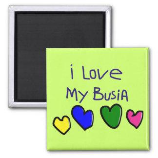 I I Love My Busia (Polish Grandma) Gift 2 Inch Square Magnet