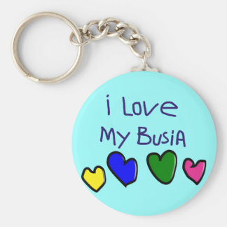I I Love My Busia (Polish Grandma) Gift Keychain