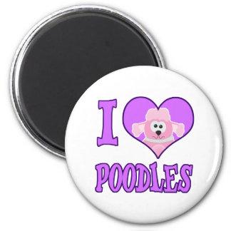 i I Love poodles 2 Inch Round Magnet