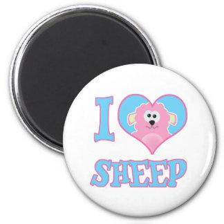 i I Love sheep 2 Inch Round Magnet