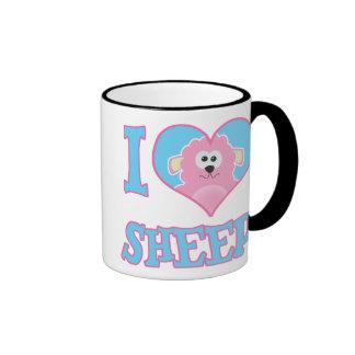 i I Love sheep Ringer Coffee Mug