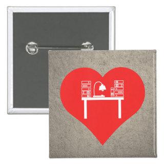 I icono de la preparación del corazón pin cuadrada 5 cm