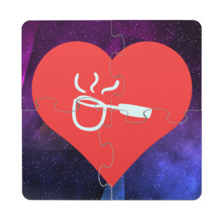 I icono de Ladling del corazón Posavasos De Puzzle