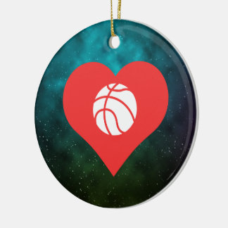 I icono de los jugadores de básquet del corazón adorno navideño redondo de cerámica