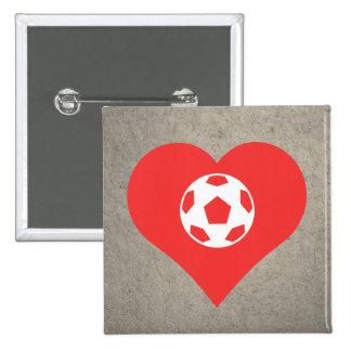 I icono del equipo de deportes del corazón pin cuadrada 5 cm