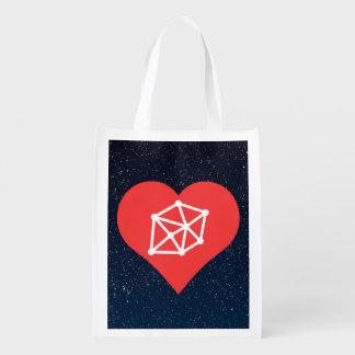 I icono del establecimiento de una red del corazón bolsa reutilizable