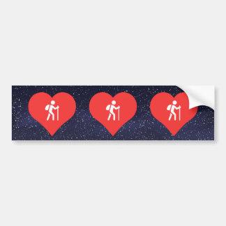 I icono del senderismo del corazón pegatina para auto