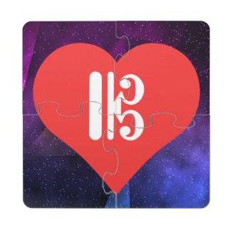 I icono musical de los símbolos del corazón posavasos de puzzle