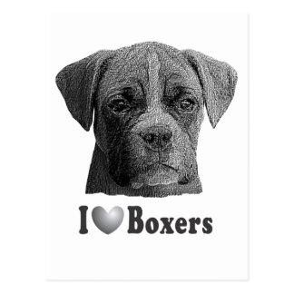 I imagen de los boxeadores w/Stylized del corazón Postal