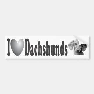 I imagen de los Dachshunds w/Stylized del corazón  Pegatina Para Auto