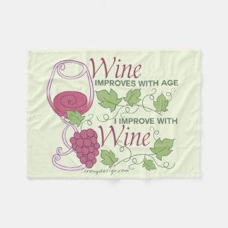 I Improve With Wine Design Fleece Blanket