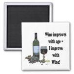 I improve with Wine, humorous Wine Magnet