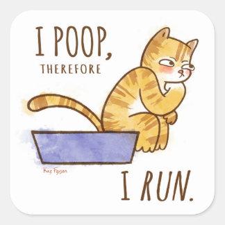I impulso, por lo tanto corro humor del gato del pegatina cuadrada