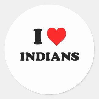 I indios del corazón pegatina redonda