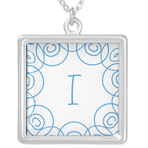 """""""I"""" initial in Blue Scroll on White, Fun Design Square Pendant Necklace"""