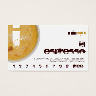 I - Initial Letter Foamy Coffee Cup Loyalty Punch Business Card