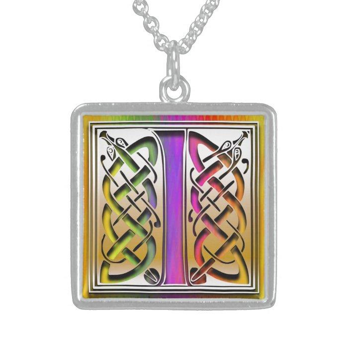 "I Initial Monogram ""Celtic Rainbow"" Necklace"