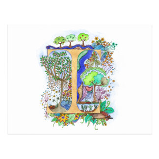 I, initial, monogram, wedding postcard