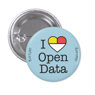 I insignia abierta de los datos CKAN del corazón ( Pin Redondo De 1 Pulgada