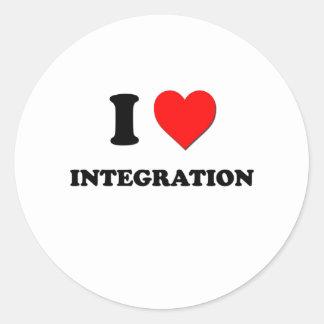 I integración del corazón pegatina redonda