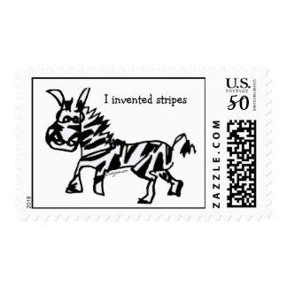 I Invented Stripes Cartoon Zebra Postage