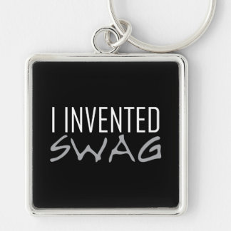 I Invented Swag Grey Silver-Colored Square Keychain