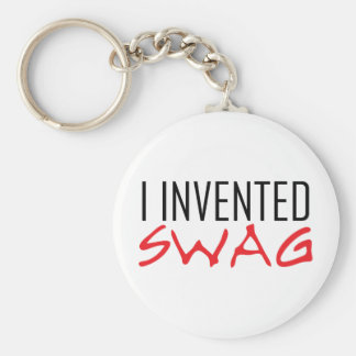 I Invented Swag Red Basic Round Button Keychain
