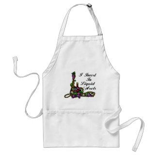 I invest in liquid assets vine wine grapes bottle adult apron