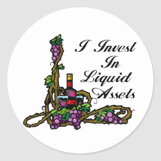 I invest in liquid assets vine wine grapes bottle classic round sticker