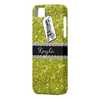 i IPHONE  5 Case CRYSTAL LGHT GREEN  PARIS THEME