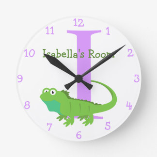 I is for Iguana and Isabella-Child's Bedroom Round Clock