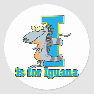I is for iguana letter abc cartoon classic round sticker