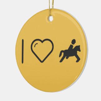 I jinetes del Equestrian del corazón Adorno Redondo De Cerámica