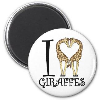 I jirafas del corazón imán redondo 5 cm