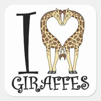 I jirafas del corazón pegatina cuadrada