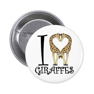 I jirafas del corazón pin redondo de 2 pulgadas
