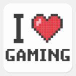 I juego del corazón pegatina cuadradas personalizada