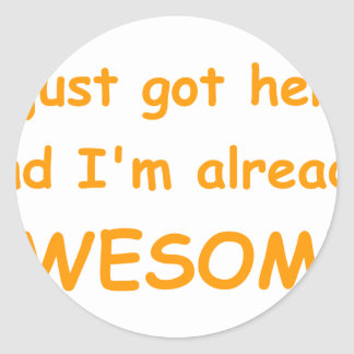 I-just-got-here-and-Im-already-awesome-comic-orang Classic Round Sticker