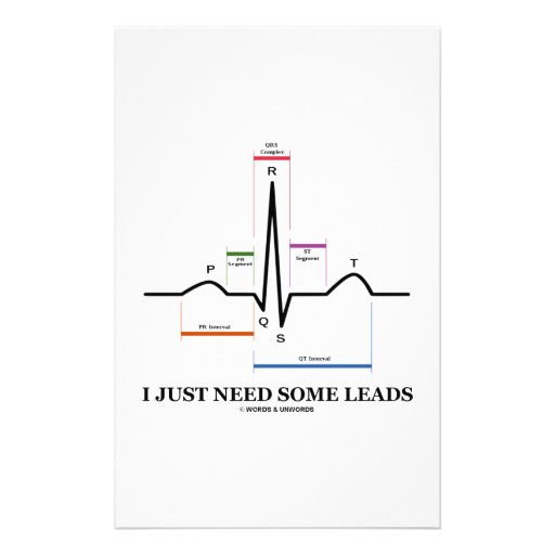 I Just Need Some Leads (ECG/EKG Heartbeat) Stationery Design