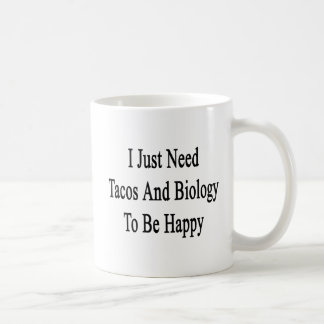 I Just Need Tacos And Biology To Be Happy Coffee Mug