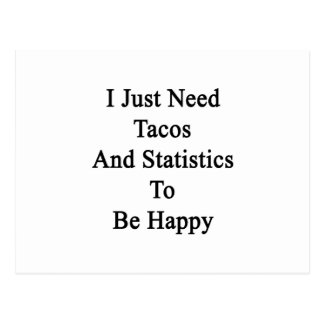 I Just Need Tacos And Statistics To Be Happy Postcard