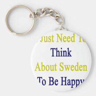 I Just Need To Think About Sweden To Be Happy Keychain