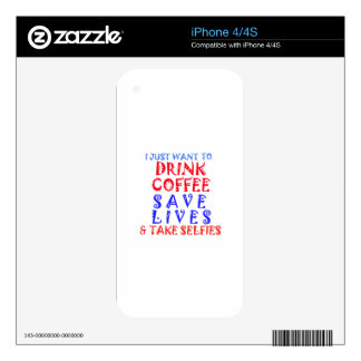 I Just want to drink coffee iPhone 4 Skin