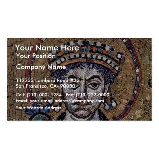 I justiniano, mosaicos A del coro de San Vitale (R Plantilla De Tarjeta De Visita