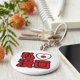 I kanji del japonés de //Nihongo del 漫画 de Manga Llavero Redondo Tipo Pin