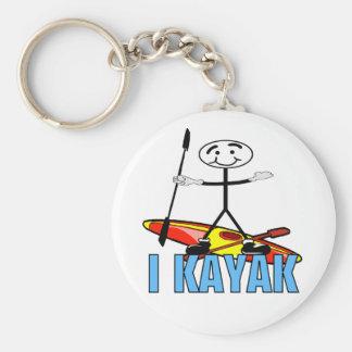I Kayak Basic Round Button Keychain