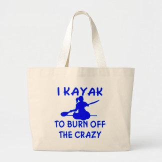 I Kayak To Burn Off The Crazy (x2) Large Tote Bag