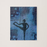 """I Keep My Balance Yoga Girl Jigsaw Puzzle<br><div class=""""desc"""">This beautiful creation was inspired by one of Deb Chaney&#39;s original Yoga Girl Paintings. Her artworks are one of a kind, and are each hand made using acrylics and mixed media layered with transferred yoga pose silhouette images, on wood panel, to create the final paintings image. They are created with...</div>"""